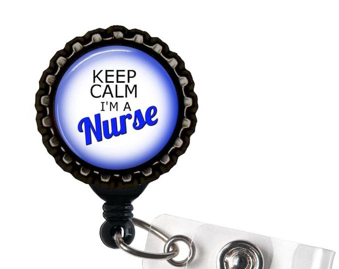 Keep Calm I'm A Nurse  Black And Blue Resin Retractable Badge Reel ID Holder