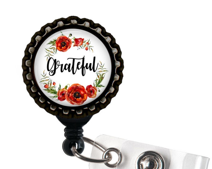 Grateful Black Retractable Badge Reel ID Holder