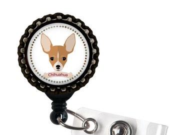 Chihuahua Black Resin Retractable Badge Reel ID Holder
