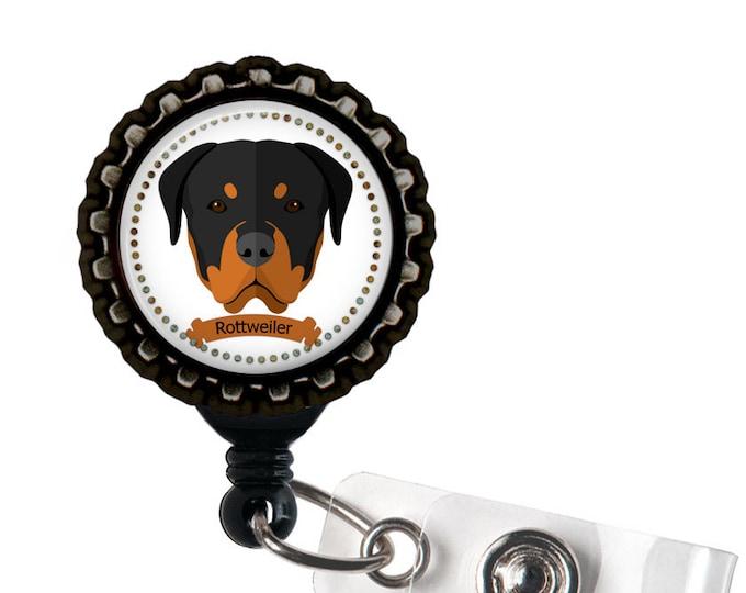 Rottweiler Black Resin Retractable Badge Reel ID Holder