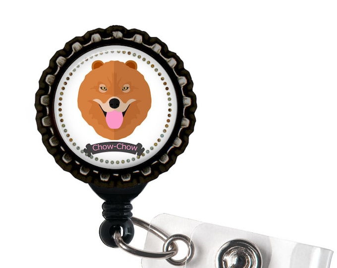 Chow Chow Black Resin Retractable Badge Reel ID Holder