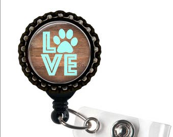 ANIMAL LOVER - Pawprint - Black Retractable Badge Reel ID Holder