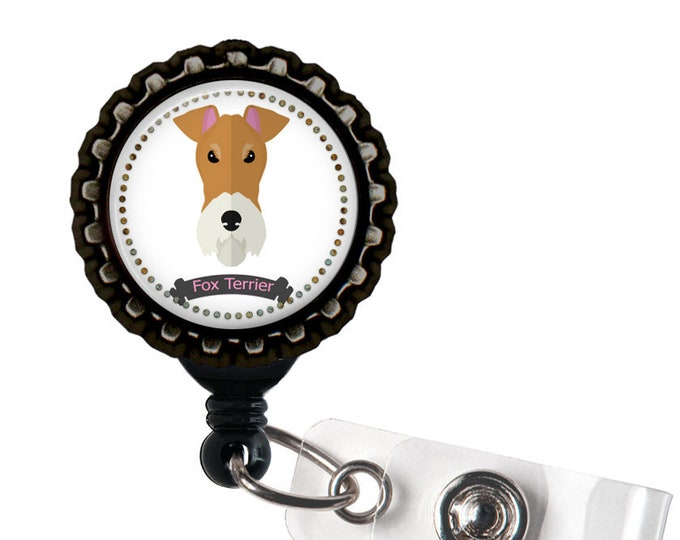 Fox Terrier Black Resin Retractable Badge Reel ID Holder