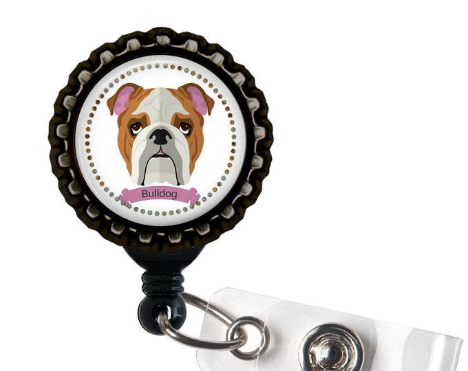 Bull Dog Black Resin Retractable Badge Reel ID Holder