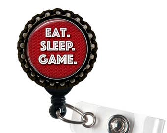 EAT.  SLEEP. GAME. - Red and Black Retractable Badge Reel Id Holder