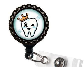 Happy Tooth Black Resin Retractable Badge Reel ID Holder