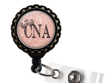 CNA ROYALTY- Pink and Black Retractable Badge Reel ID Holder