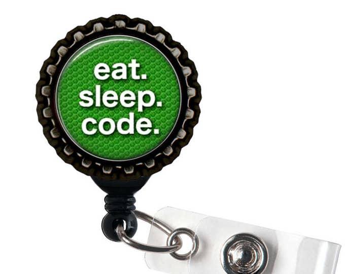 EAT.  SLEEP. CODE. - Green and Black Retractable Badge Reel Id Holder