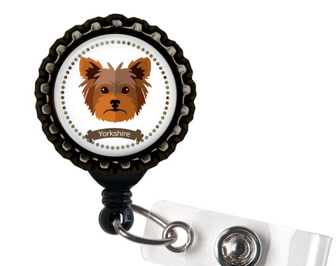 Yorkshire Black Resin Retractable Badge Reel ID Holder