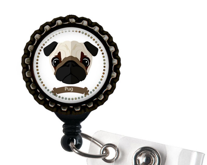 Pug Black Resin Retractable Badge Reel ID Holder