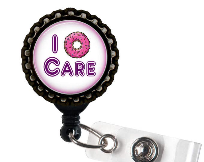 I Donut Care - Pink, Purple, and  Black Retractable Badge Reel ID Holder