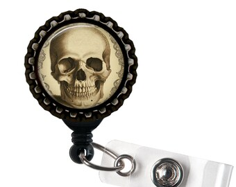 Anatomical Skull - Tan and Black Retractable Badge Reel ID Holder