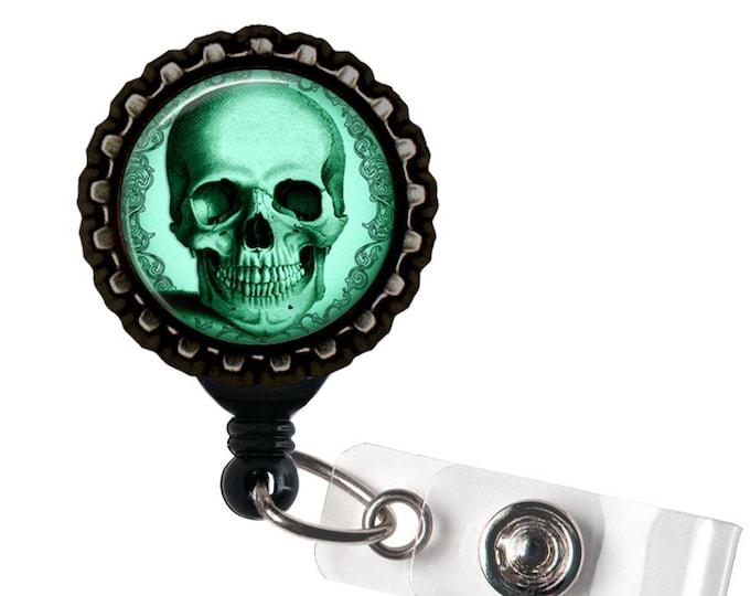 Teal Skull -  Anatomical Black Retractable Badge Reel ID Holder