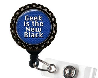 Geek is the New Black - Blue and Black Retractable Badge Reel ID Holder