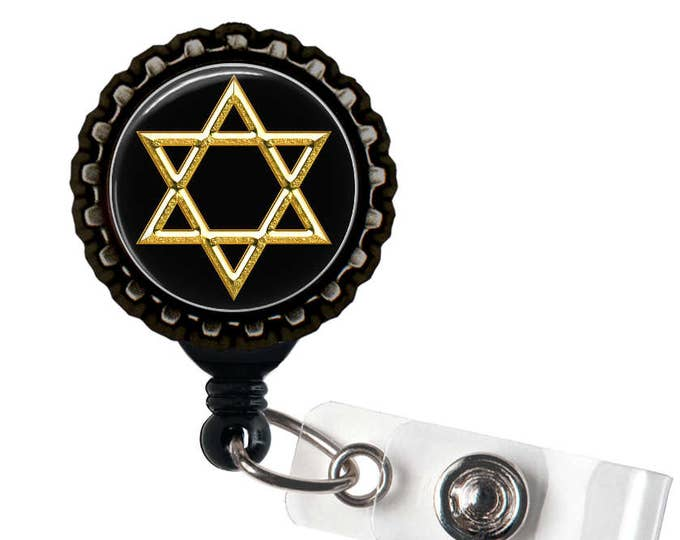 STAR Of DAVID  - Jewish - Black Retractable Badge Reel ID Holder