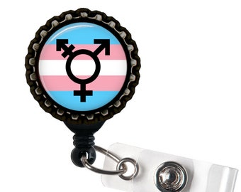 TRANSGENDER PRIDE - Rainbow and Black Retractable Badge Reel ID Holder