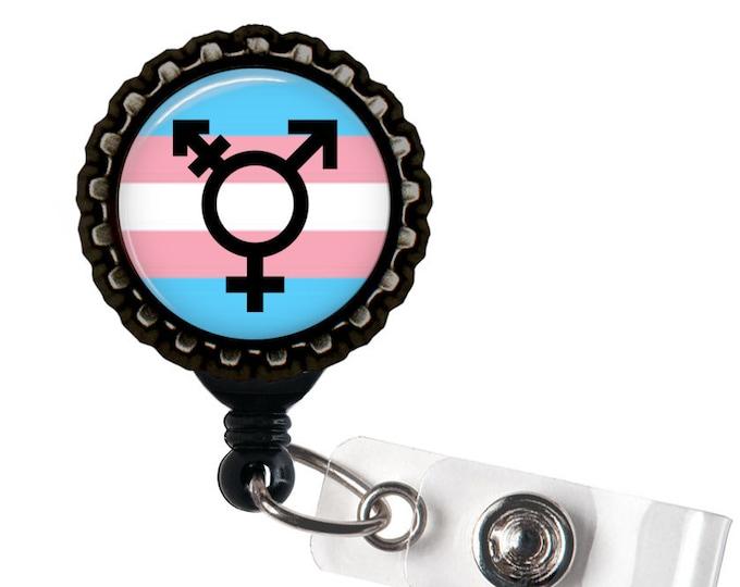 TRANSGENDER PRIDE - Rainbow and Black Retractable Badge Reel ID Holder