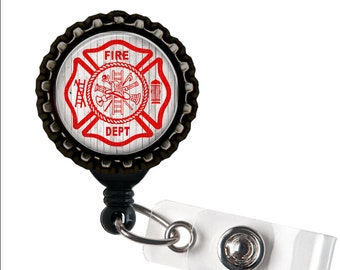 FIREFIGHTER LOVE -  Red, Grey, and Black Retractable Badge Reel ID Holder