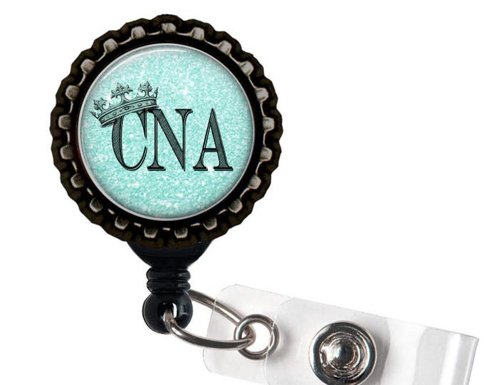 CNA ROYALTY- Blue and Black Retractable Badge Reel ID Holder