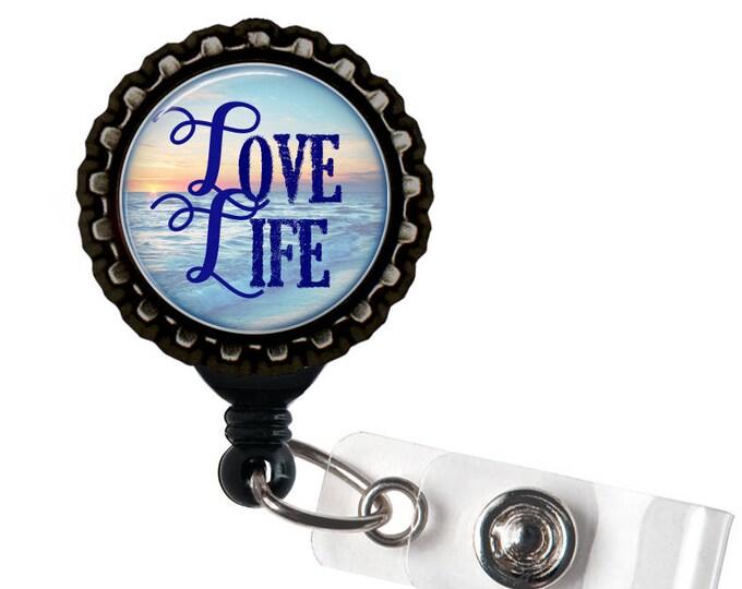 LOVE LIFE - Ocean Sunset - Blue and Black Retractable Badge Reel ID Holder