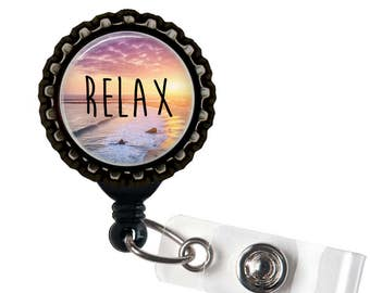 RELAX - Beach Sunset - Black Retractable Badge Reel ID Holder