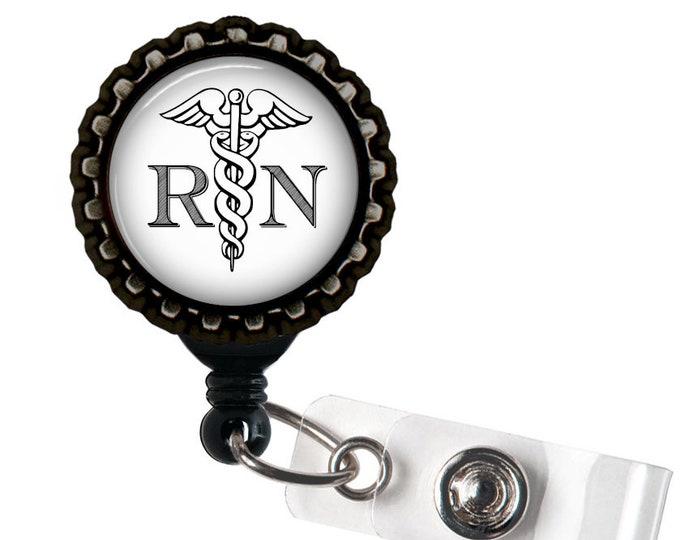 RN STAFF- Nurse Medical Black Retractable Badge Reel ID Holder