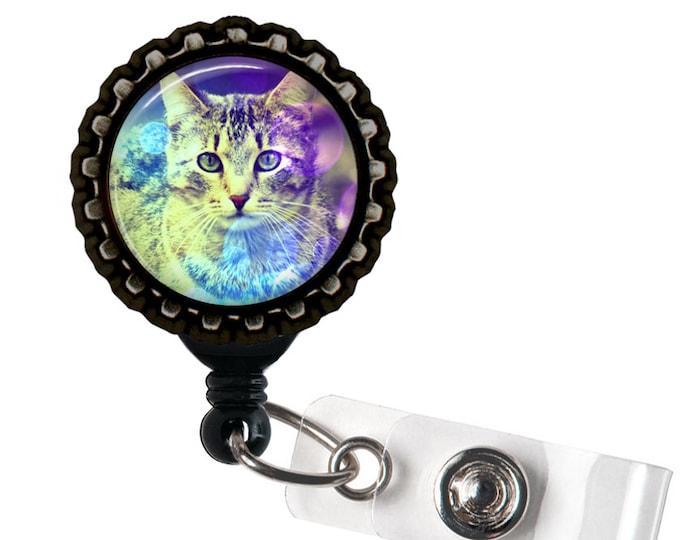 Rainbow Kitty - Black Retractable Badge Reel ID Holder - Cats