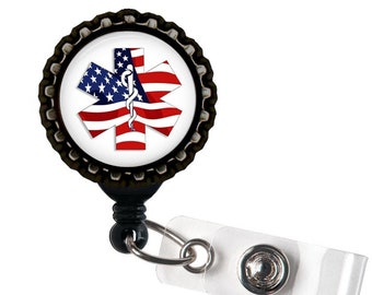 PROUD To Be EMS - Blue - Black Retractable Badge Reel ID Holder