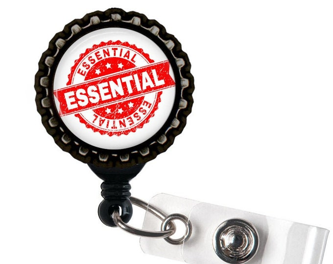 ESSENTIAL EMPLOYEE - Front Lines Black Retractable Badge Reel ID Holder