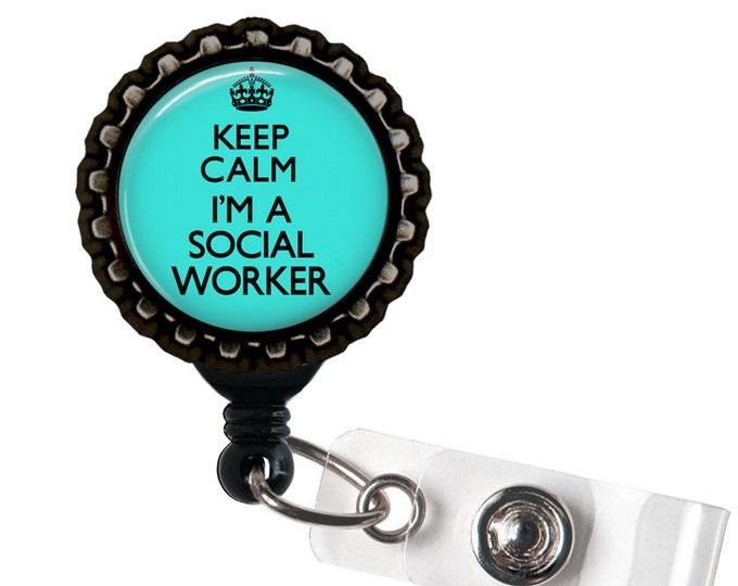 Keep Calm I'm A Social Worker - Aqua  and  Black Retractable Badge Reel ID Holder