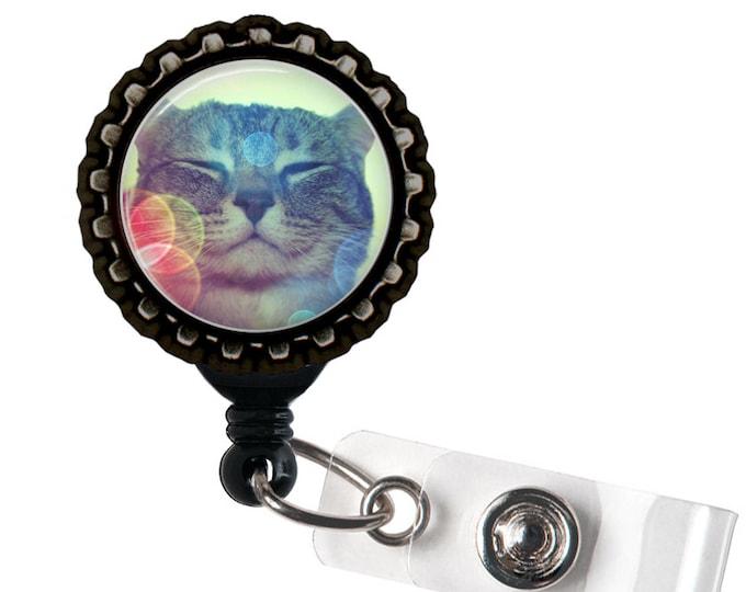 Happy Cat - Black Retractable Badge Reel ID Holder - Cats