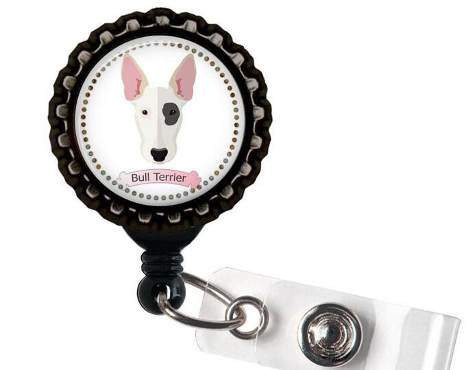 Bull Terrier Black Resin Retractable Badge Reel ID Holder