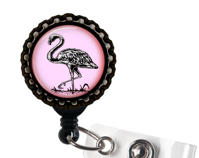 Pink Flamingo Unicorn Black Resin Retractable Badge Reel ID Holder