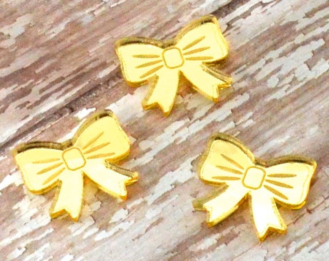 GOLD MIRROR BOWS - Cabochons - Set of 3 in Laser Cut Acrylic