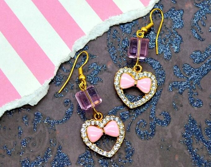 Sweet Bling - Heart, Bows, & Rhinestone Bling Dangly Earrings