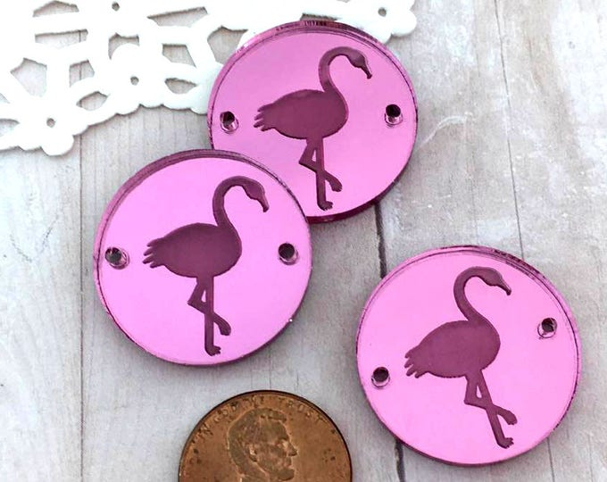 FLAMINGOS CHARMS- Circle Disc Charm - Shiny Pink Mirror Laser Cut Acrylic
