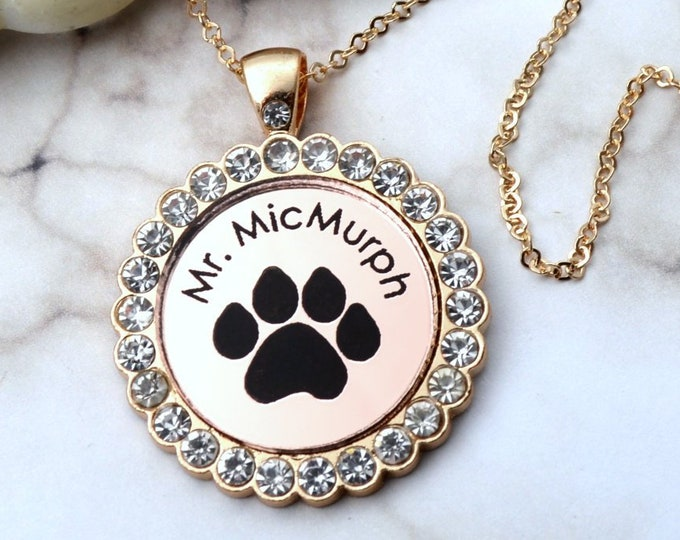 CUSTOM PET NECKLACE - Memorial Rose Gold Cameo - Dog - Cat - Companion