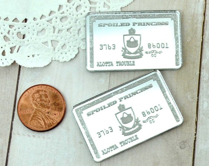 2 SILVER MIRROR Credit Cards - Fancy Fun Cabochons - Laser Cut Acrylic