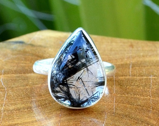 Dark and Light - Rutilated Quartz, Sterling Silver Ring, Size 8, 925, USA Seller, Genuine Stone, Tear Drop Shape, Handmade Gemstone Ring