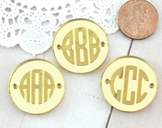 CUSTOM MONOGRAM DISCS - Circle Charm - Shiny Gold Mirror Laser Cut Acrylic