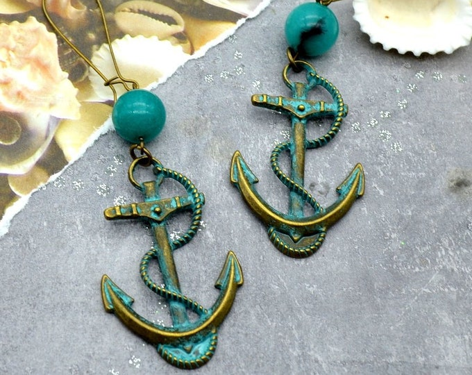 AHOY MATEY -Bronze and Teal Anchor Earrings