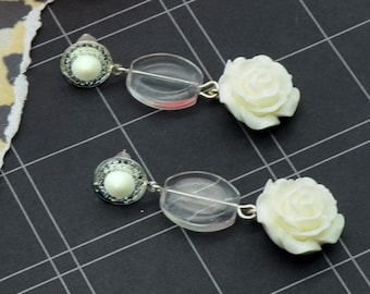Classic White Roses - Couture Charm Earrings - Bloom Collection