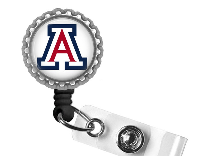 Red White and Blue A - University of Arizona - Retractable Badge Reel ID Holder