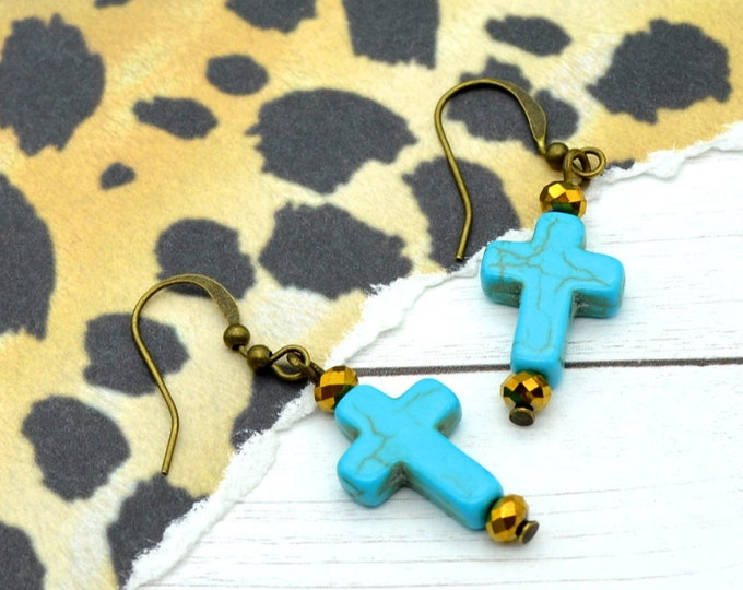 Turquoise Crosses - Turquoise & Bronze Cross Earrings