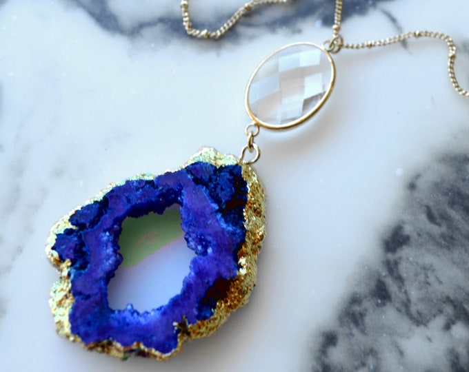 BLUE ROYALTY - Geode Necklace - Royal Blue and Gold Druzy - Gemstone