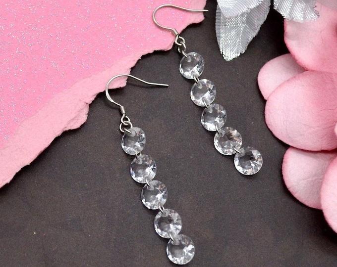 CLASSY RHINESTONE DANGLES  - Rhinestone Dangle Earrings