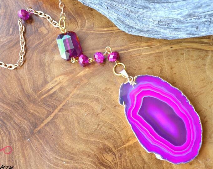 Vibrant Fuschia Agate Geode Slice - Gemstone Rosary