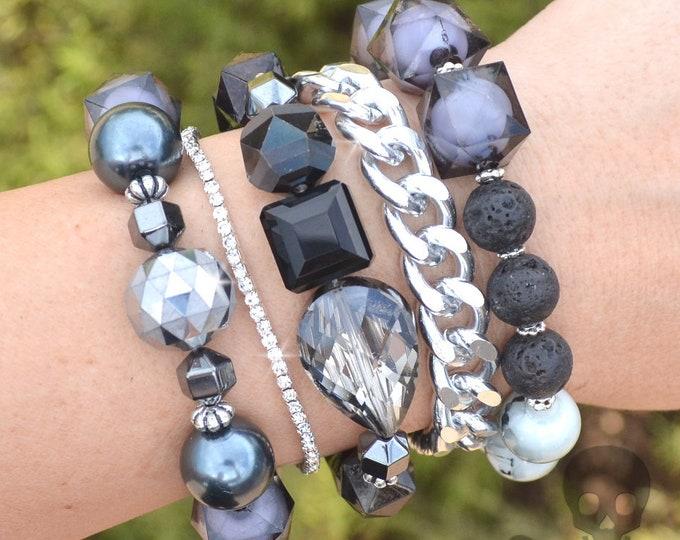 Noir Glam Stack - 5 Bracelet Set