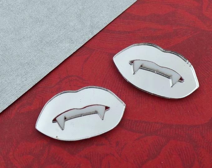 VAMPIRE FANG LIPS - Silver Mirror - White Teeth - 1 Pair - Cabochons - Laser Cut Acrylic
