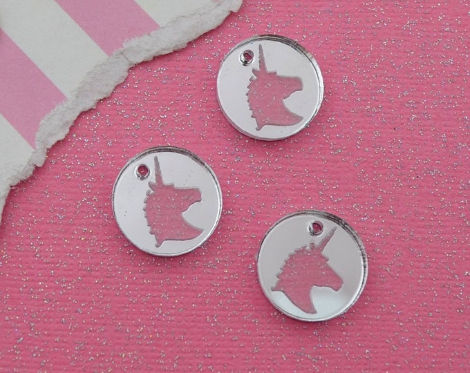 SILVER MIRRORED UNICORNS - Circle Disc Charm- Silver Mirror Laser Cut Acrylic